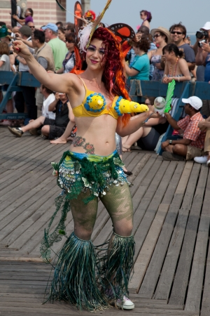 coney: Unidentified participant of the 28th annual Coney Island Mermaid Parade on June 18, 2011 at Coney Island, Brooklyn, NY, USA.