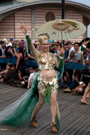 participant: Unidentified participant of the 28th annual Coney Island Mermaid Parade on June 18, 2011 at Coney Island, Brooklyn, NY, USA.