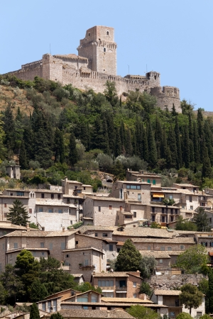 The imperial fortress Rocca Maggiore on top of the hill above the city of Assisi, Italy
