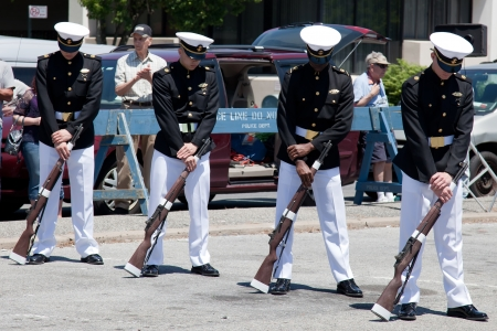merchant: United States Merchant Marine Academys Color Guard and Drill Team performs at the Sheepshead Bays BayFest 2012 on May 20, 2012 in Brooklyn, New York. USA. Editorial