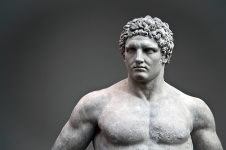 ancient rome: Marble statue of a youthful Hercules, A D