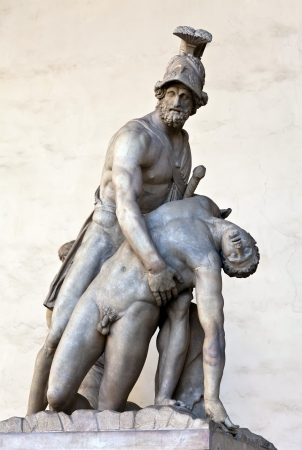 wounded: Menelaus supporting the body of Patroclus  in the Loggia dei Lanzi, Florence, Italy