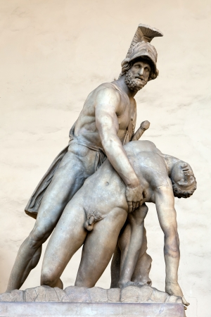 Menelaus supporting the body of Patroclus  in the Loggia dei Lanzi, Florence, Italy