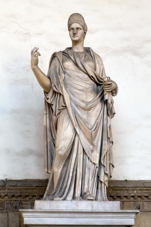 vestal: Ancient Roman sculpture of a Vestal Virgin at the Loggia dei Lanzi, Florence, Italy