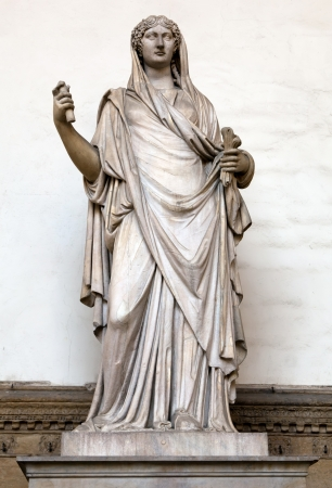 Ancient Roman sculpture of a Vestal Virgin at the Loggia dei Lanzi, Florence, Italy