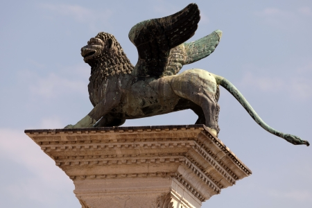 Huge bronze statue of the Lion of St Mark. Its origin remains a mystery, though it is thought to be a Chinese chimera with wings added to make it look like a Venetian lion.  photo