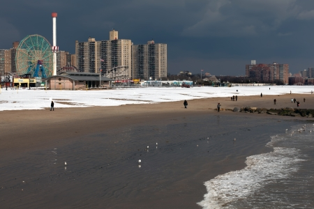The Wonder Wheel and Astroland Park on the Coney Island beach during winter