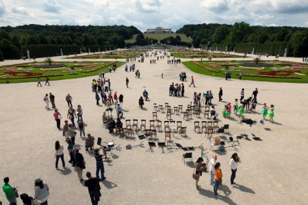 View of the Great Parterre on to the Gloriette in the  Schonbrunn Palace Park