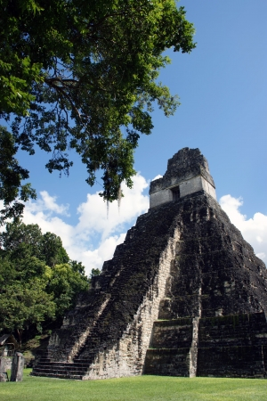 pre columbian: Temple of the Great Jaguar is one of the major structures at Tikal, Guatemala Stock Photo