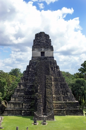 Temple of the Great Jaguar is one of the major structures at Tikal, Guatemala Stock Photo