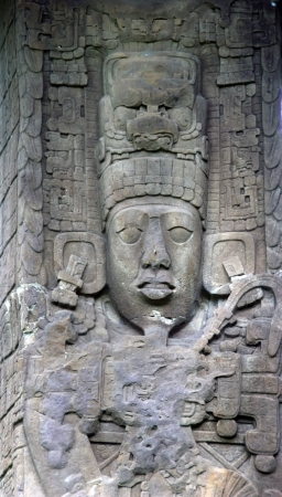 Ancient Mayan stone carving in the Quirigua ruins in Guatemala