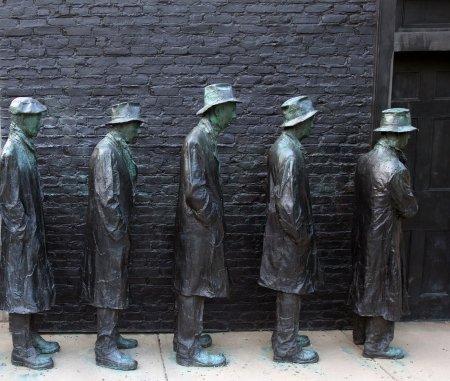 George Segal�s Depression Bread Line located in the Grounds For Sculpture park and museum in Hamilton Township, Mercer County, New Jersey, United States.