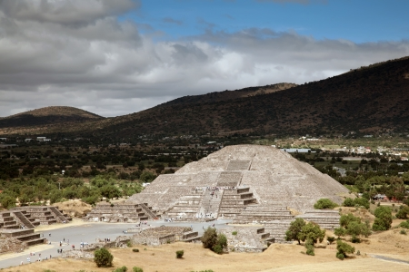 Pyramid of the Moon in Teotihuacan, Mexico  Teotihuacan is an enormous archaeological site in the Basin of Mexico, just 30 miles northeast of Mexico City, containing some of the largest pyramidal structures built in the pre-Columbian Americas  photo