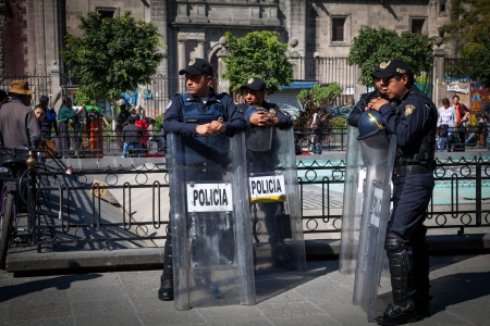 Cops in riot gear in Mexico City, Mexico