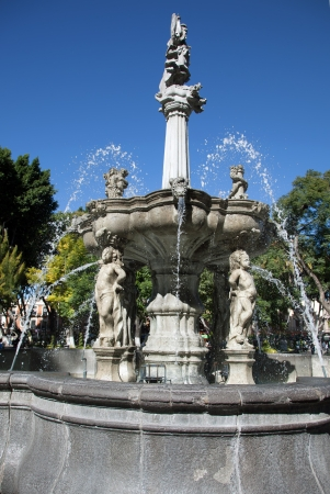 Baroque fountain in Puebla, Mexico Stock Photo