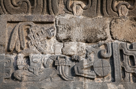 The Temple of the Feathered Serpent in Xochicalco has fine stylized depictions of that deity in a style which includes apparent influences of Teotihuacan and Maya art Stok Fotoğraf - 16765688