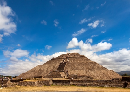 Pyramid of the Sun in Teotihuacan, Mexico  Teotihuacan is an enormous archaeological site in the Basin of Mexico, just 30 miles northeast of Mexico City, containing some of the largest pyramidal structures built in the pre-Columbian Americas  photo