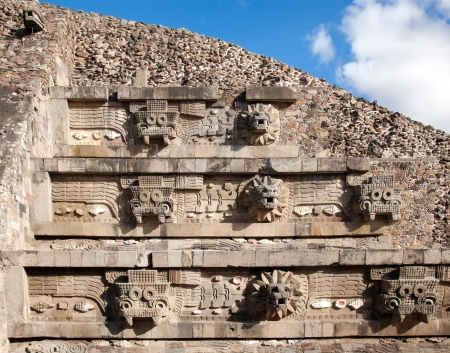feathered: Feathered Serpent Pyramid at Teotihuacan, Mexico