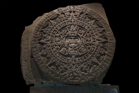 archaeologists: Despite being known as a  calendar stone,  modern archaeologists believe it is more likely to have been used primarily as a ceremonial basin or ritual altar for gladiatorial sacrifices, than as an astrological or astronomical reference  Stock Photo