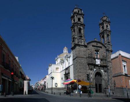 characterized: Church of San Cristobal, Puebla, built in 1687, characterized as Rich Baroque. Editorial