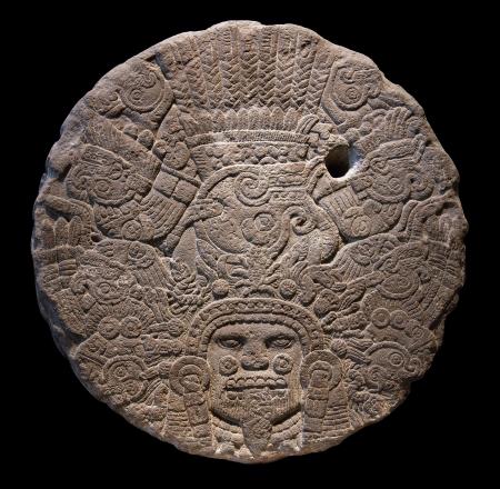 cronologia: Disco de piedra altar a Tlaltecuhtli, Se�or de la Tierra Tlaltecuhtli es una figura precolombina mesoamericana deidad, identificados a partir de la escultura y la iconograf�a que data del per�odo Postcl�sico Tard�o de Mesoam�rica cronolog�a 12001519 ca, sobre todo entre la