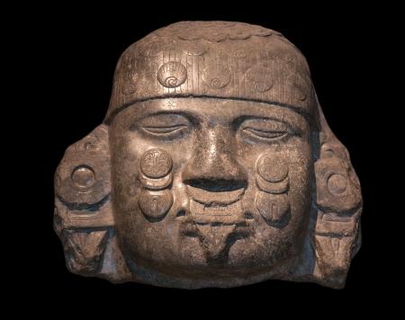 Head of Coyolxauhqui, Mexica-Aztec, Tenochtitlan, Mexico, c  A  D  1500, Diorite Stok Fotoğraf - 16959914