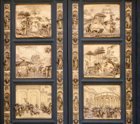 The Gates of Paradise by Lorenzo Ghiberti, 1452, gilded bronze, Santa Maria del Fiore Florence Cathedral  Baptistery  East Doors , Florence, Italy