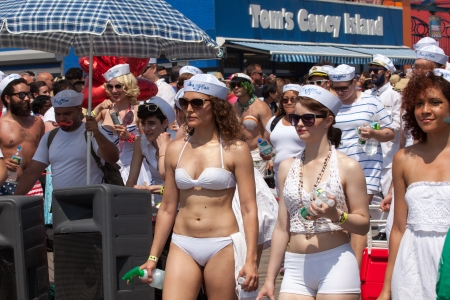 coney: Unidentified participants of the 29th annual Coney Island Mermaid Parade on June 22, 2013 at Coney Island, Brooklyn, NY, USA.