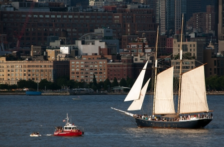 The Clipper City Tall Ship sailing on the Hudson River on July 4th, 2013. The original 1854 Clipper City schooner was decommissioned in 1890, but rebuilt in 1984.