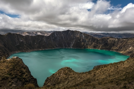 Quilotoa is a water-filled caldera that was formed by the collapse of the volcano following a catastrophic eruption about 800 years ago  Quilotoa is a tourist site of growing popularity