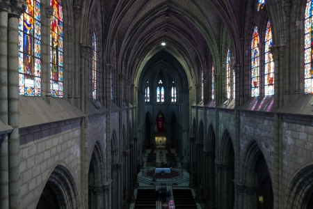 neo gothic: The Basilica of the National Vow is a Roman Catholic church located in the historic center of Quito, Ecuador  It is the largest neo-Gothic basilica in the Americas