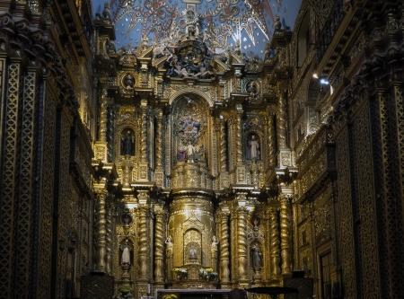 la compania: La Compania Church interior in Quito, Ecuador Editorial