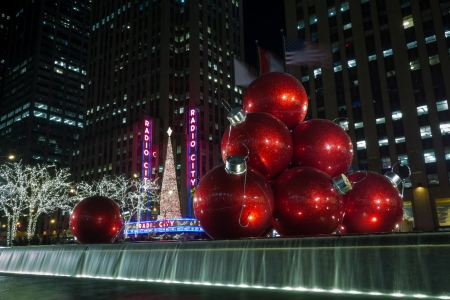 One of the most photographed holiday decorations on Sixth Avenue are the giant Christmas ornaments in front of 1251 Sixth Avenue building  Exxon Building  across from the Radio City Music Hall