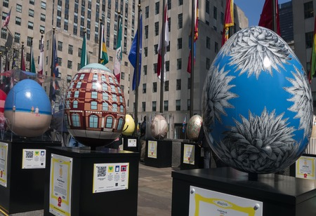 world's: Rockefeller Center hosting a display of unique egg sculptures created by the world s leading artists, designers, photographers and architects on April 26, 2014 in New York City, NY