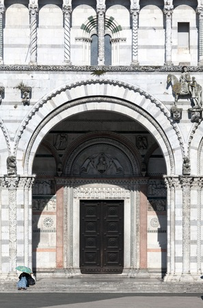 christendom: The main entrance to the San Martino Cathedral in Lucca, built in 1070 to house one of the most renowned artifacts in Christendom, the Volto Santo, a venerated wooden corpus of a crucifix