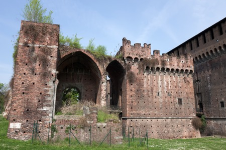 sforzesco: Porta Vercellina at Castello Sforzesco in Milan. Only ruins remain of the great fortified structure that once protected the gate of Santo Spirito. Stock Photo