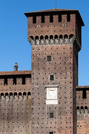 sforzesco: Torre di Bona di Savoia at the courtyard of the Castello Sforzesco in Milan Italy Stock Photo