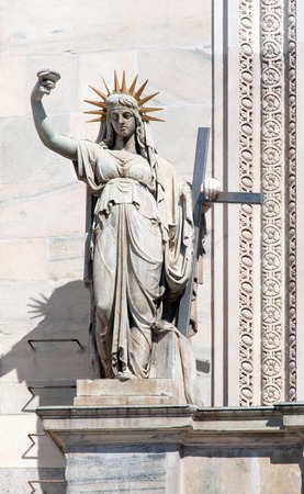 camillo: Statue on the Milan Cathedrals facade representing the New Law carved by Camillo Pacetti in 1810 inspired Frederic Auguste Bartholdi for the construction of the Statue Of Liberty in NYC