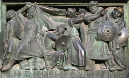 crusades: Doors of the Milan Cathedral depicting conquest of Jerusalem by Crusaders Stock Photo
