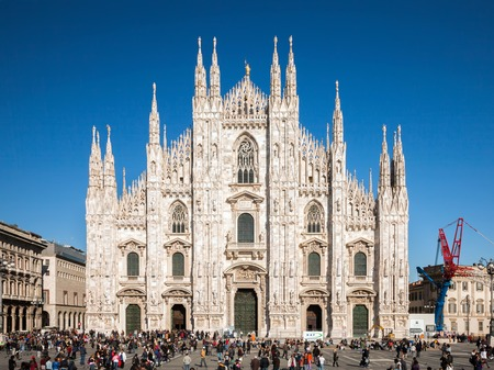 begun: Milan cathedral is the third largest church in the world. It was begun by the Visconti family in 1386 and finished by Napoleon in 1805 more than four centuries later.