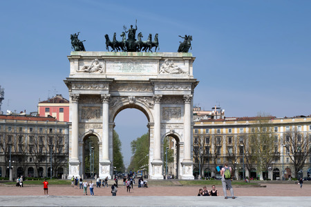 back gate: Porta Sempione Simplon Gate is a city gate of Milan Italy marked by a landmark triumphal arch called Arco della Pace Arch of Peace dating back to the 19th century. Editorial