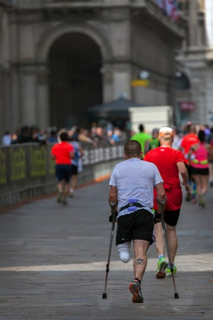 legged: One legged runner competing in the Milan Marathon 2015