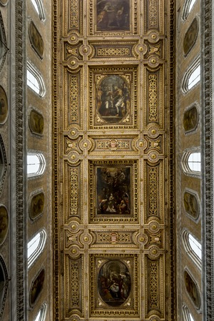 commissioned: Ceiling of the Naples Cathedral. The cathedral was commissioned by King Charles I of Anjou and completed in the early 14th century. Stock Photo