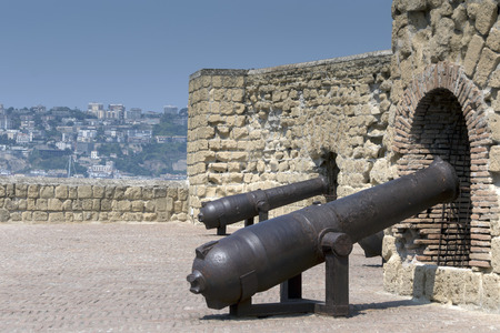 bombard: Cannons of the Castel dellOvo in Naples, Italy. During the Italian Wars, in the Neapolitan Republic of 1799 the castle guns were used by rebels to deter the philo-Bourbon population of the city.