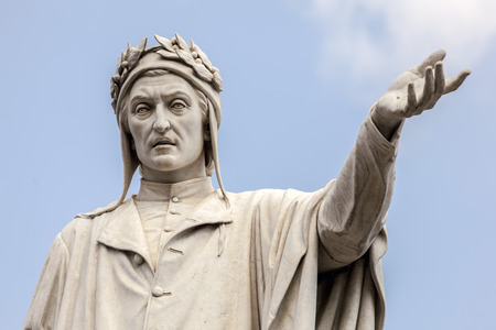 Statue of the poet Dante Alighieri at the Piazza Dante in Naples, Italy sculpted by Tito Angelini in the 19th century.