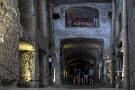 2nd century: NAPLES, ITALY - JULY 24 2015: The Catacombs of San Gennaro are underground paleo-Christian burial sites, the largest Christian catacomb complex in southern Italy, dating back to the 2nd century CE.