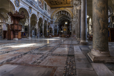 st  mark: ROME, ITALY - JULY 29 2015: San Marco, the national church of Venice in Rome, dedicated to St. Mark was first built in 336. The last major reworking of the basilica was completed in the 18th century.