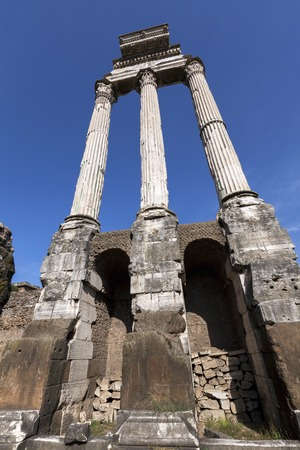 forums: The three slender fluted columns of the Temple of Castor and Pollux form one of the Roman Forums most beautiful ruins.