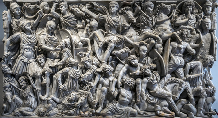 Ancient Roman Ludovisi Battle sarcophagus at Palazzo Altemps, dating to 260 AD, is known for its densely populated composition of the battle between Romans and Goths. Stok Fotoğraf - 46592205