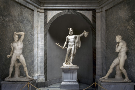 medusa: Perseus statue in the Vatican Museums, carved by Antonio Canova. The statue shows the triumphant Perseus holding the severed head of the Medusa, one of the three Gorgons. Editorial